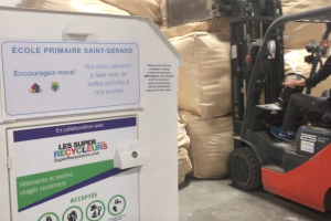 Super Recyclers bin in the warehouse
