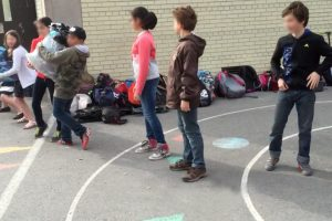 Human chain at École Lajoie